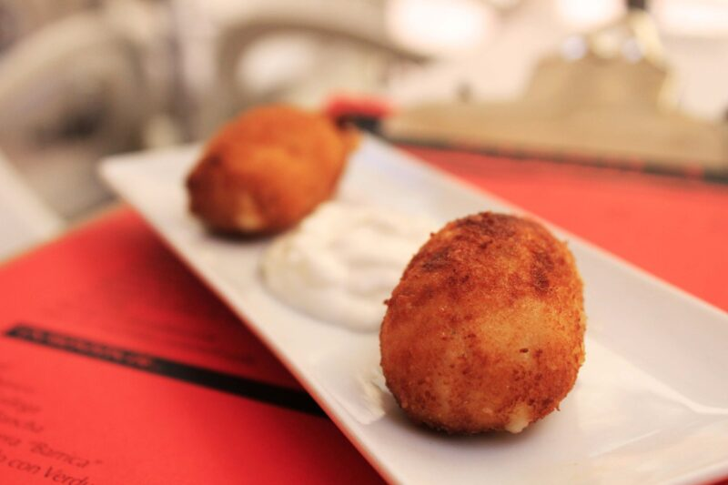 Croquetas with Jamon from Barrica restaurant, typical Spanish tapas