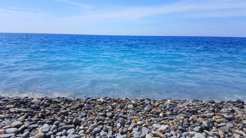 Cyan water of the sea in Nice, French Riviera