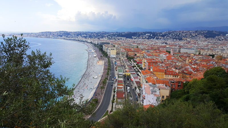 A stunning view to charming city of Nice, taken from Castle Park