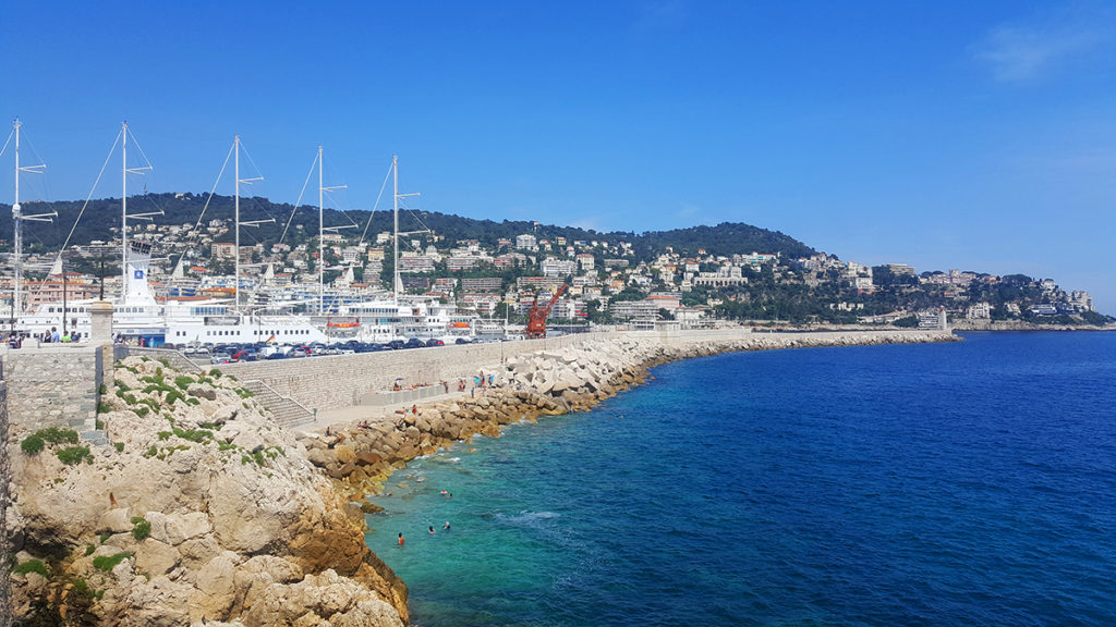 Stony beach next to Port in Nice, French Riviera