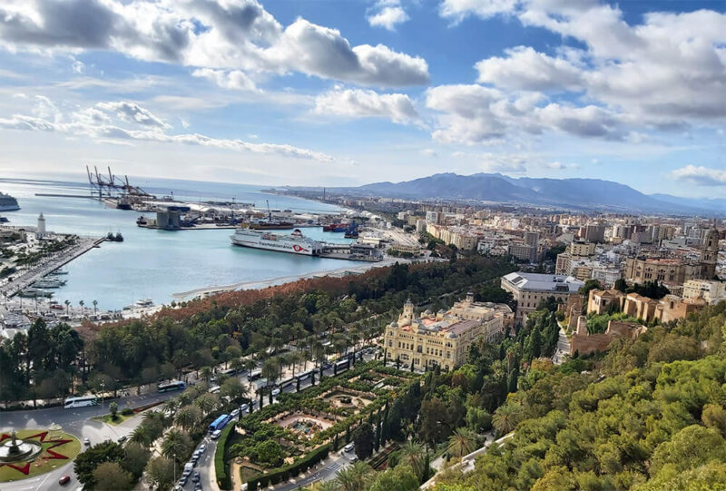 Stunning view from Gibralfaro mount to Malaga i