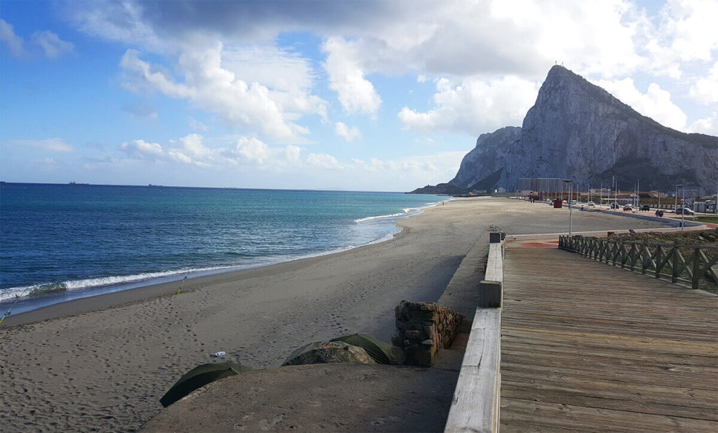 A stunning view to the Rock of Gibraltar, taken from levant beach in La Linea