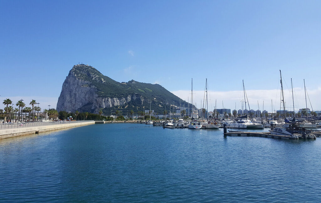The Rock of Gibraltar, a view taken from the port of La Linea