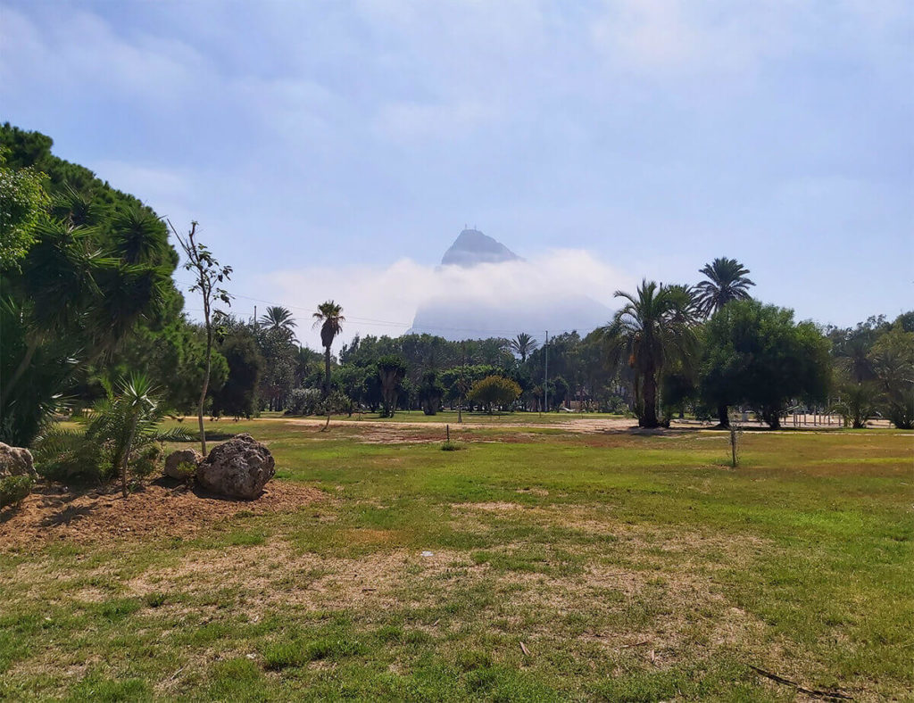 Mysterious and foggy rock of Gibraltar