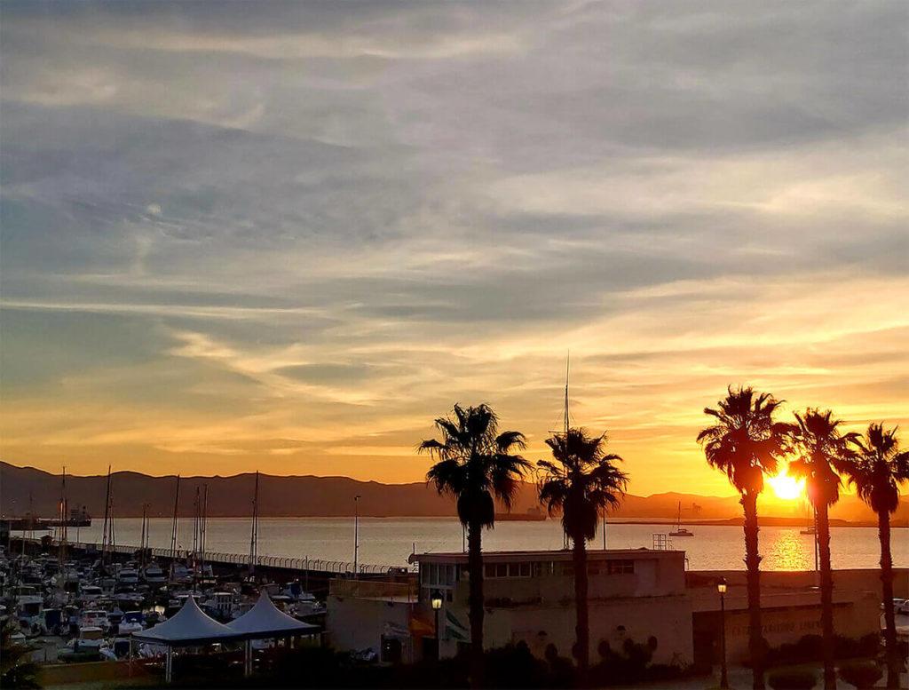 Orange sunset in La Linea, Andalusia, Spain